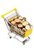Mynt i kundvagn — Stockfoto