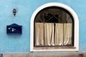 Closed inn blue facade — Stock Photo