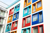 Colorful facade of modern apartment building — Stock Photo