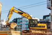 Construction site during the demolition of a house — Stock Photo