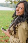 Woman writes sms — Stock Photo