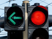 Traffic light with red light and green light — Stock Photo