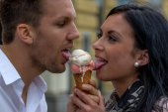 Eat couple having ice — Stock Photo