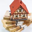 Half-timbered house on euro banknotes — Stock Photo #73901925