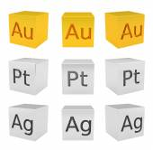 Noble metal cubes, gold, silver, platinum — Stock Photo