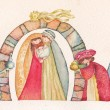 Christian Christmas Nativity scene with the three wise men — Stock Photo #58036763