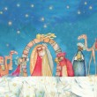 Christian Christmas Nativity scene with the three wise men — Stock Photo #58138963