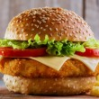 Hamburger with cutlet breaded — Stock Photo #56835629