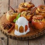 Baked apples with raisins and cinnamon ice cream — Stock Photo #60756413