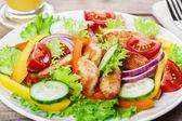 烤的鸡里脊肉番茄辣椒和黄瓜沙拉 — 图库照片