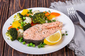 Steamed salmon — Stock Photo