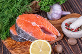 Fresh raw  salmon — Stock Photo