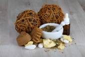 Natural cosmetics and soaps — Stock Photo