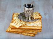 Matzo with cup of wine — Stock Photo