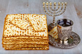 matzo with kiddush cup of wine — Stock Photo