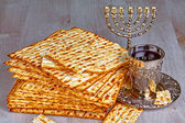 Matzo with kiddush cup of wine  — ストック写真