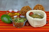 Medicinal herbs and organic organic products — Stock Photo