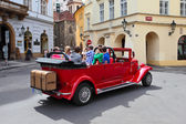 Red retro car in the street  — Stock Photo