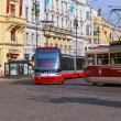 Trams at old street in Prague. — Stock Photo #73942047