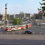 Trams crossing the Cechuv Bridge in Prague — Stock Photo #75954275