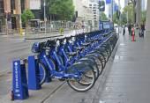 MELBOURNE, AUSTRALIA - JANUARY 15, 2015: City bikes for rent on — Stock Photo