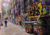MELBOURNE, AUSTRALIA  - JANUARY 15, 2015: Street art with graffi — Stock Photo