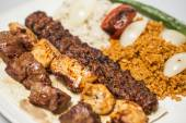 Traditional turkish meal - selections of kebabs — Stock Photo