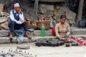 Nepalese woman working in  pottery workshop — Stock Photo