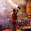 Ganga Aarti ritual in Varanasi. — Stock Photo #58352687