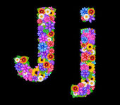 Flower J letter alphabet — Stock Photo