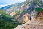 Canyon Colca and man on a rock — Stock Photo
