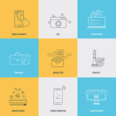 Set of flat line icons concepts — Stock Vector