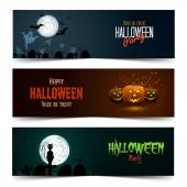 Happy Halloween banner set — Stock Vector