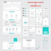 Fllat responsive one page website template — Wektor stockowy