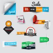 Collection of Sale Discount Styled origami Banners. Vector — Stock Vector