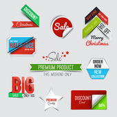 Collection of Sale Discount Styled origami Banners — Stock Vector