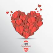 Cartão de dia dos namorados de coração de papel — Vetor de Stock