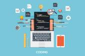 Programming - Coding Flat Concept — Stock Vector