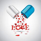 Multiple Hearts inside Capsule Pill — Stock Vector