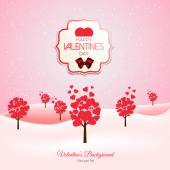 Valentine trees with heart shaped leaves — Stock Vector