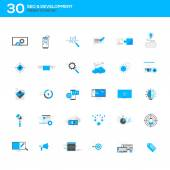 Set of modern flat design SEO and development icons — Stock Vector