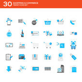 Flat icons set- shopping & commerce — Stock Vector