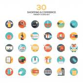 Set of modern flat design Shopping and commerce icons — Stock Vector