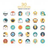 Set of modern flat design Education icons — Stock Vector