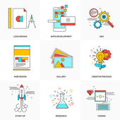 Flat line icons set of  Tehnology and Development — Stock Vector