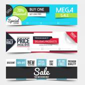 Collection of Sale Discount Styled Banners — Stock Vector