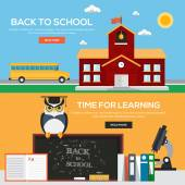 Flat back to school banners concept — Stock Vector