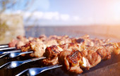 Grilling a delicious shashlik — Stock Photo