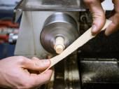 Hobby of craftmanship wood with lathe — Stock Photo