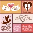 Set of flat design Valentines day greeting cards — Stock Vector #62872659